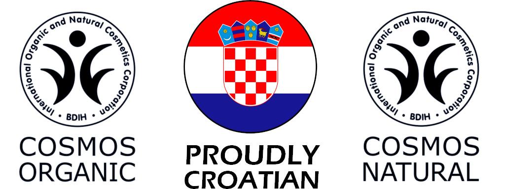 Croatian cosmos certified skincare badges