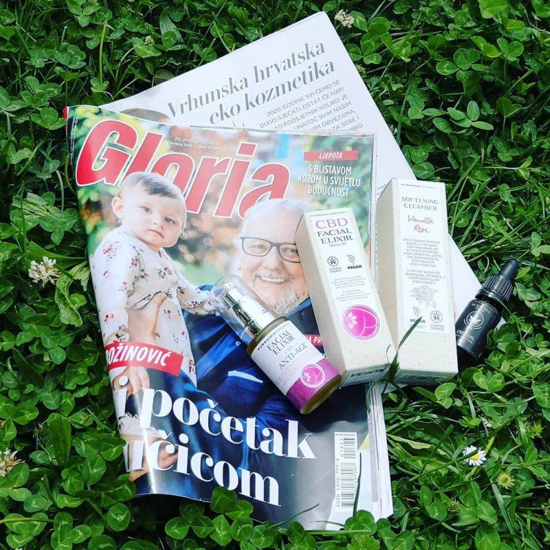 Gloria magazine featuring puravida organic cbd skincare products