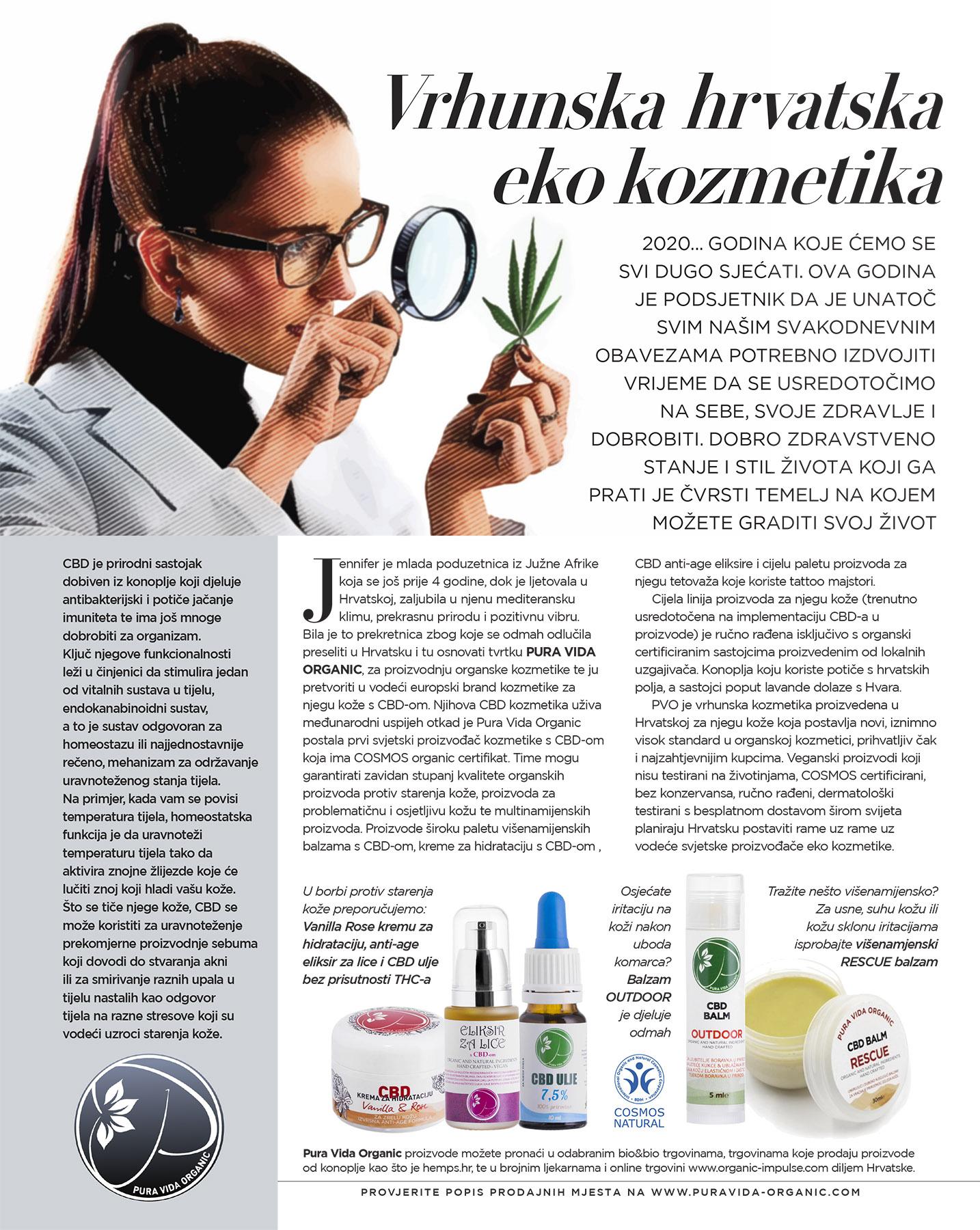 Gloria hr magazine article on puravida organic cbd skincare